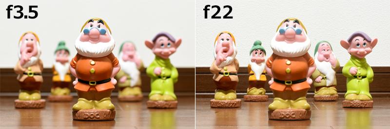 f3.5で撮ったものとf22で撮ったものです。f3.5で撮ったものはぼけていますね